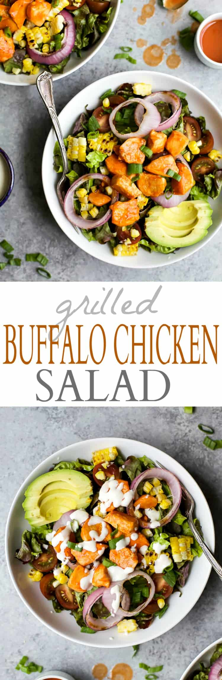 Recipe collage for Grilled Buffalo Chicken Salad