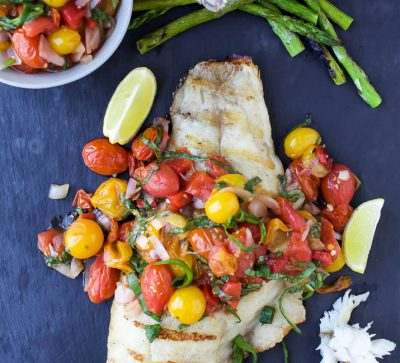 Grilled Red Snapper topped with a Roasted Red Pepper and Charred Tomato Relish for a light and fresh 30 Minute meal perfect for summer!   paleo recipes   gluten free
