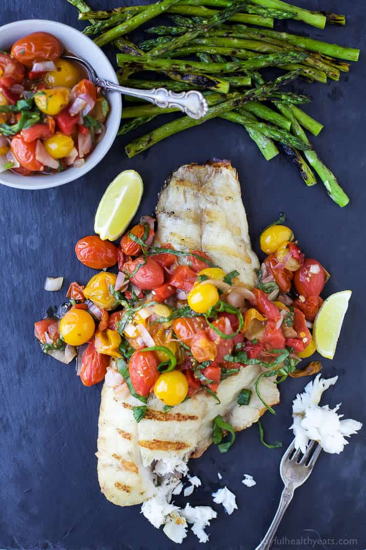 Top view of Grilled Red Snapper topped with a Roasted Red Pepper and Charred Tomato Relish