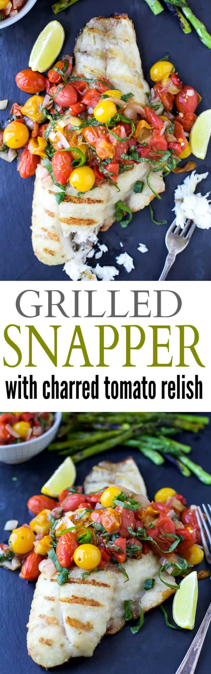 Grilled Red Snapper topped with a Roasted Red Pepper and Charred Tomato Relish for a light and fresh 30 Minute meal perfect for summer! | paleo recipes | gluten free