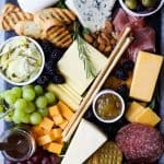 overhead photo of how to make the ultimate cheese board