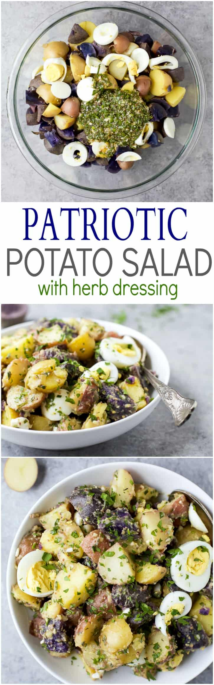 Patriotic Potato Salad made with red, white, and blue potatoes then ...
