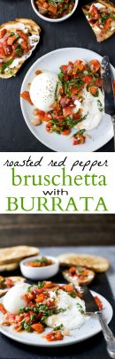 pinterest image for roasted red pepper bruschetta with burrata