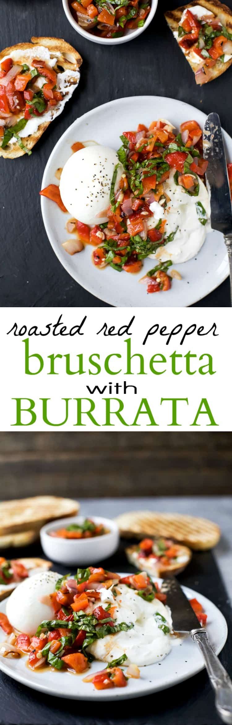 Roasted Red Pepper Bruschetta with Burrata - an easy summer appetizer that's light and fresh! Guaranteed to wow the crowd! I mean, who doesn't like creamy burrata!   grilling recipes