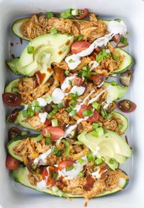 Image of BBQ Chicken Zucchini Boats from Above