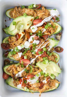 BBQ Chicken Zucchini Boats