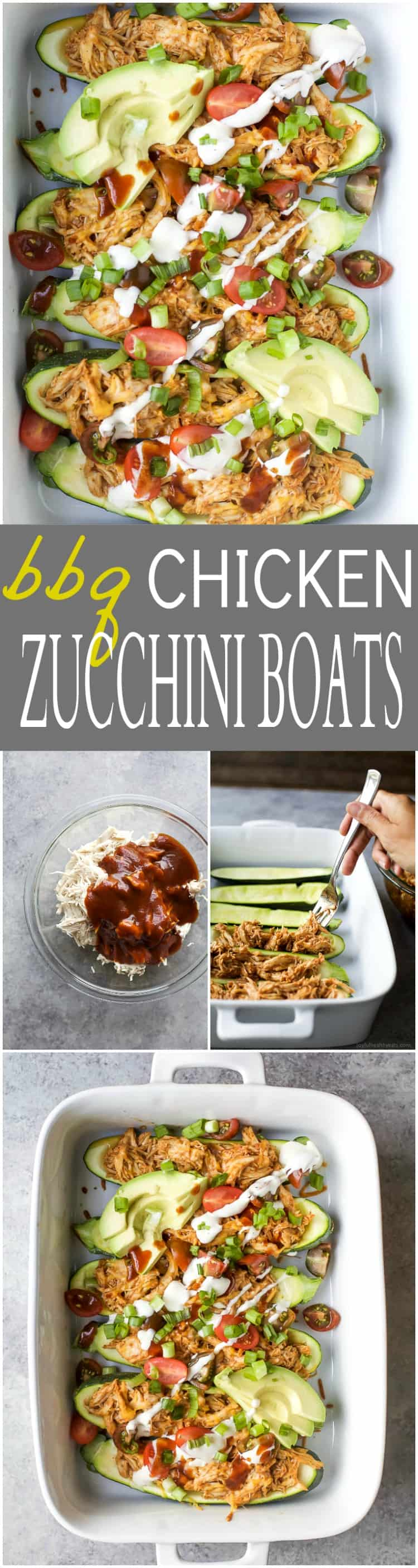30 Minute BBQ Chicken Zucchini Boats - loaded with flavor, low in calories and high in protein. The perfect easy healthy recipe for a quick weeknight dinner your family will love!