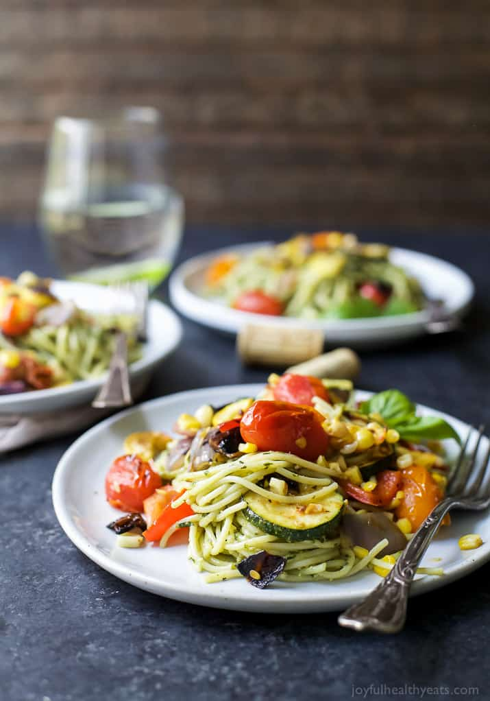 Basil Pesto Pasta With Grilled Vegetables