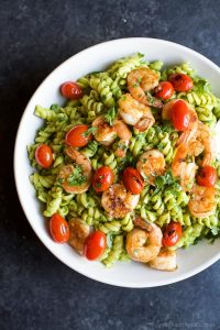 Image of Chimichurri Avocado Pasta with Pan Seared Shrimp