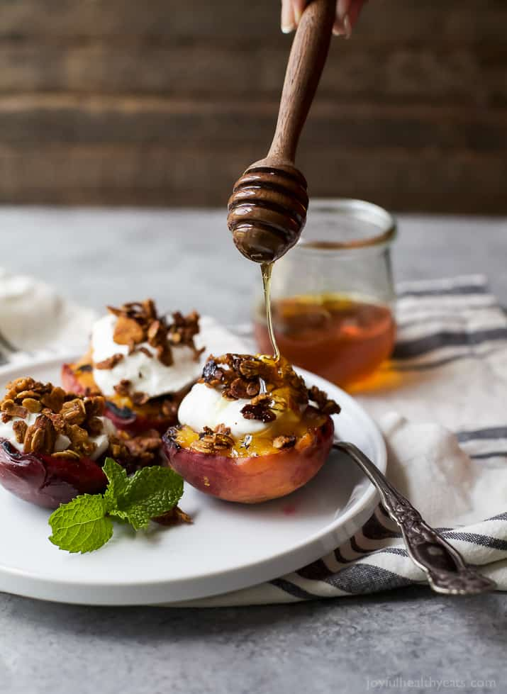 Grilled Stone Fruit topped with Vanilla Yogurt & Homemade Granola - an easy summer dessert recipe that's light, refreshing, and so easy to make!