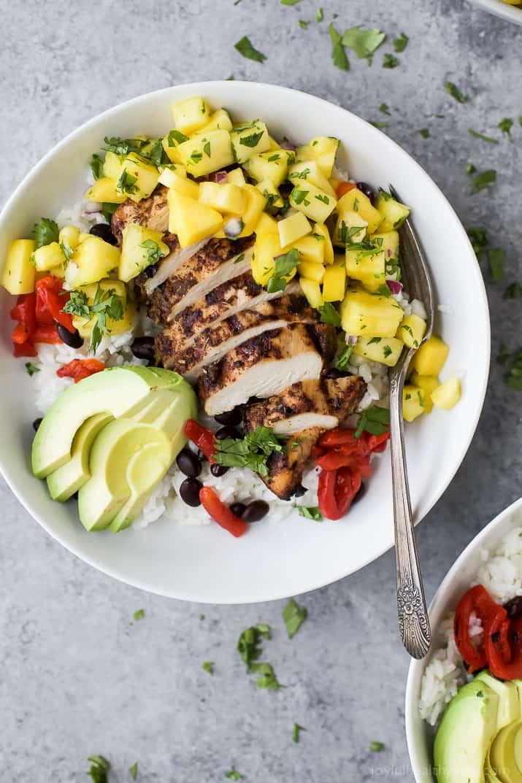Jerk Chicken Bowls with Mango Pineapple Salsa   Easy ...