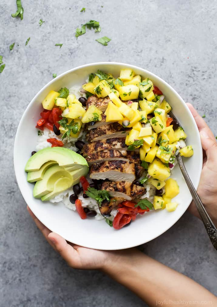 Image of a Grilled Jerk Chicken Bowl with Mango Pineapple Salsa