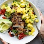 Image of a Jerk Chicken Bowl with Mango Pineapple Salsa