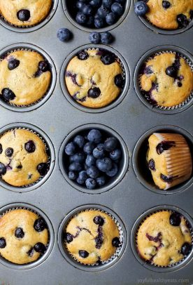 moist blueberry muffin recipe in a muffin tin