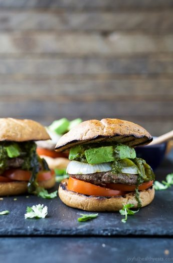 Zesty Chimichurri Burgers topped with creamy avocado and roasted poblanos are the perfect bold flavored burger for the summer!
