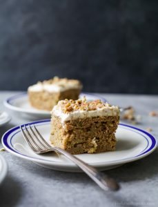 Image of Two Slices of Zucchini Cake with Cream Cheese Frosting