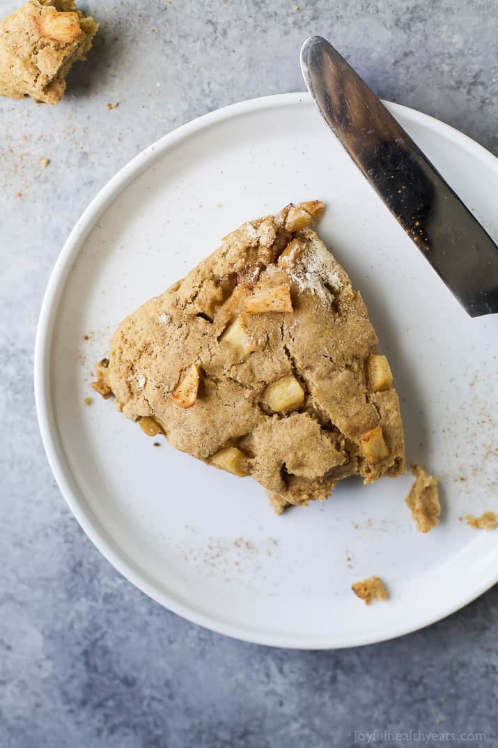 Fresh Apple Cinnamon Scones they're crumbly, moist, and full of apple cinnamon flavor. The perfect breakfast for the fall, especially next to a cup of coffee!