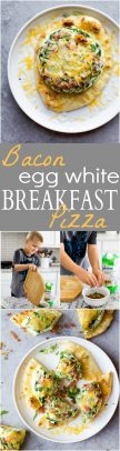 A collage of images of Bacon Egg White Breakfast Pizza.