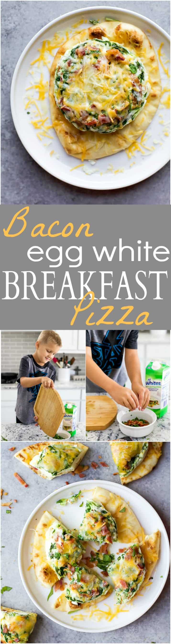 Bacon Egg White Breakfast Pizza a quick easy breakfast recipe perfect for the kids. This Breakfast pizza is loaded with bacon and spinach with 20 grams of protein and only 276 calories a serving! | #ad