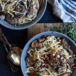 Image of Two Bowls of Drunken Wild Mushroom Pasta