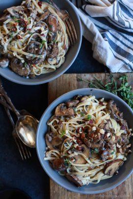 Image of Two Bowls of Drunken Wild Mushroom Pasta