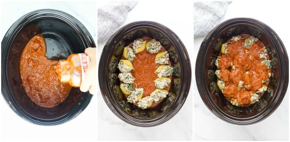how to assemble stuffed shells in a crock pot
