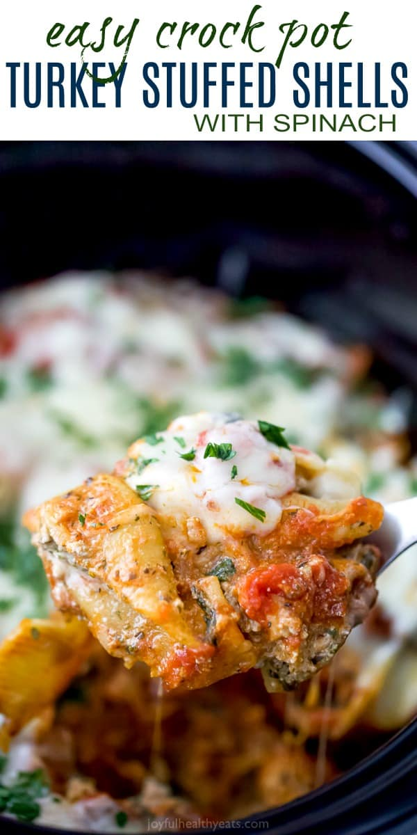 Easy Crock Pot Turkey Stuffed Shells with Spinach