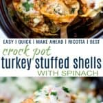 pinterest image for crock pot stuffed shells with spinach