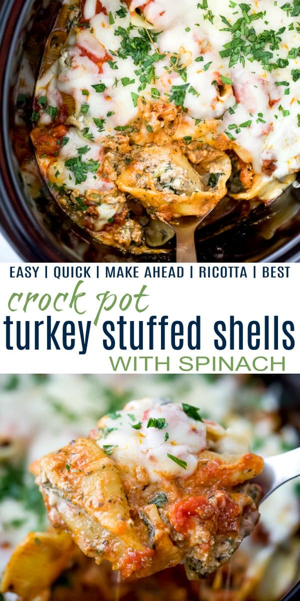 Collage for Crock Pot Turkey Stuffed Shells with Spinach recipe