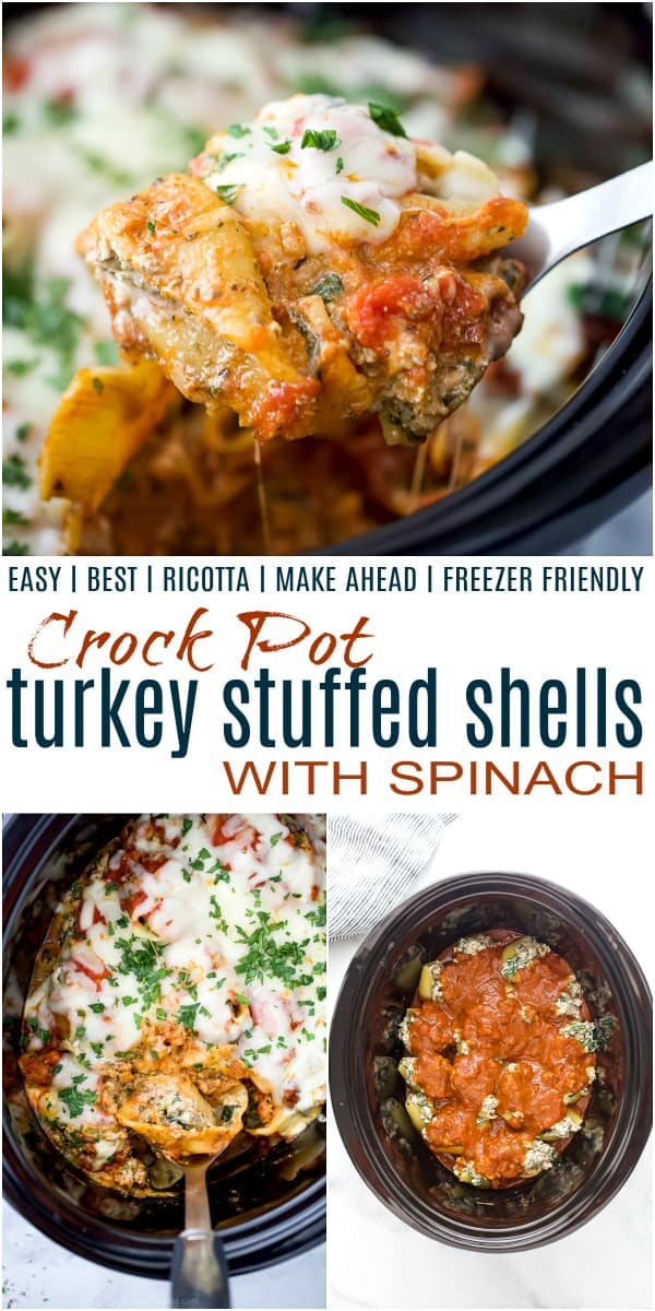 Pinterest collage for crock pot turkey stuffed shells with spinach recipe