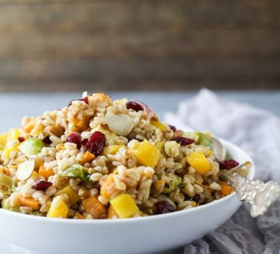 Harvest Butternut Squash Farro Salad filled with roasted fall vegetables, super grains, dry cranberries and tossed with a simple vinaigrette. A perfect healthy side dish for the fall!