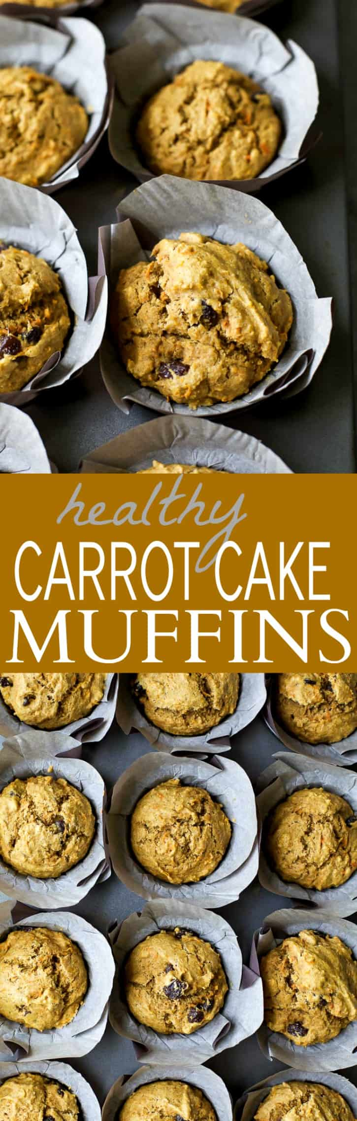 Healthy Carrot Cake Muffins sweetened with applesauce and maple syrup. These Muffins are insanely moist and taste just like carrot cake but without all the guilt! Perfect for a grab'n go breakfast or afternoon snack!