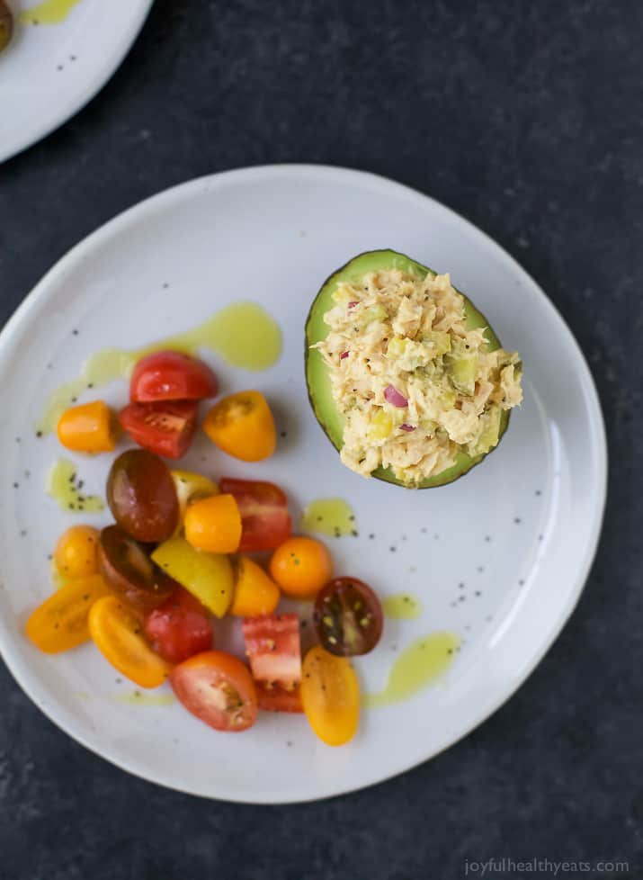 Healthy Tuna Salad Stuffed Avocado - an easy gluten free recipe perfect for lunch.