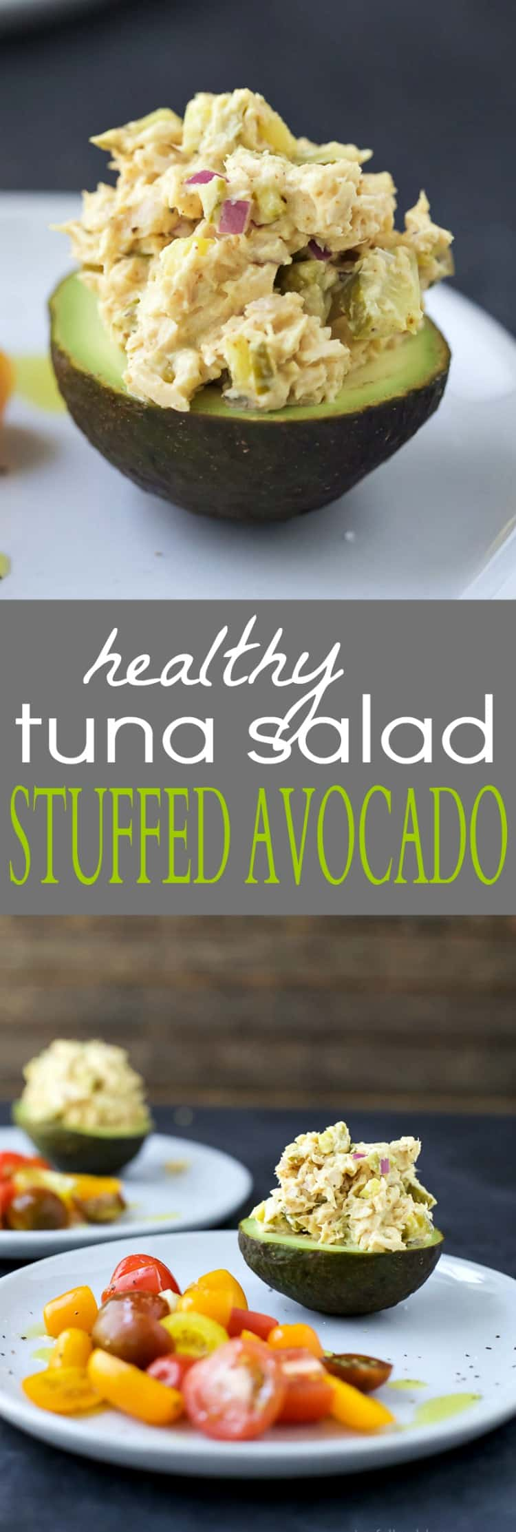 Healthy Tuna Salad Stuffed Avocado - an easy gluten free recipe perfect for lunch.
