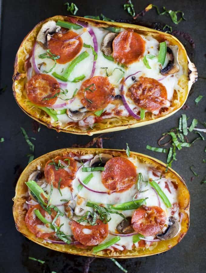 Supreme Pizza Stuffed Spaghetti Squash - the perfect comfort food recipe only 193 calories per serving and loaded with flavor! Pizza never tasted so good AND guilt free! #ad