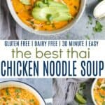 pinterest image for thai chicken noodle soup