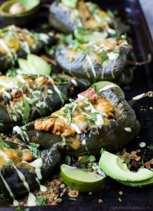 Image of Turkey Stuffed Poblanos with Avocado Crema