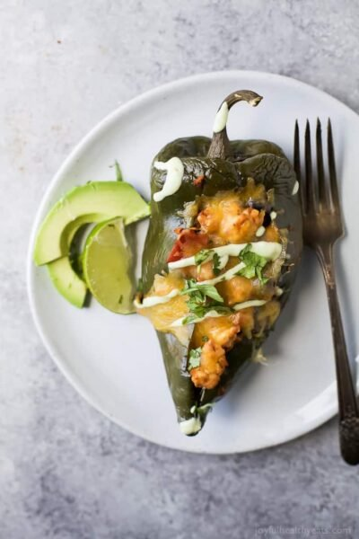 turkey stuffed poblanos with avocado crema