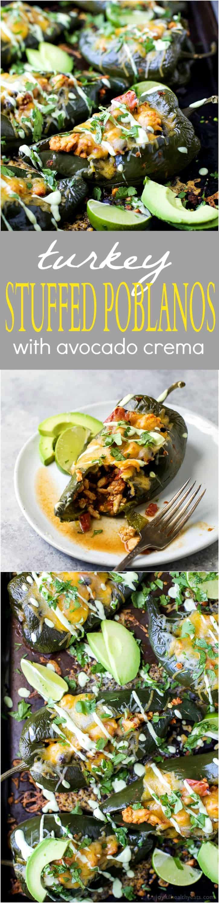 Turkey Stuffed Poblanos filled with fire roasted tomatoes and black beans then topped with melted cheese and an Avocado Crema to die for. A gluten free meal that will quickly become your families favorite!
