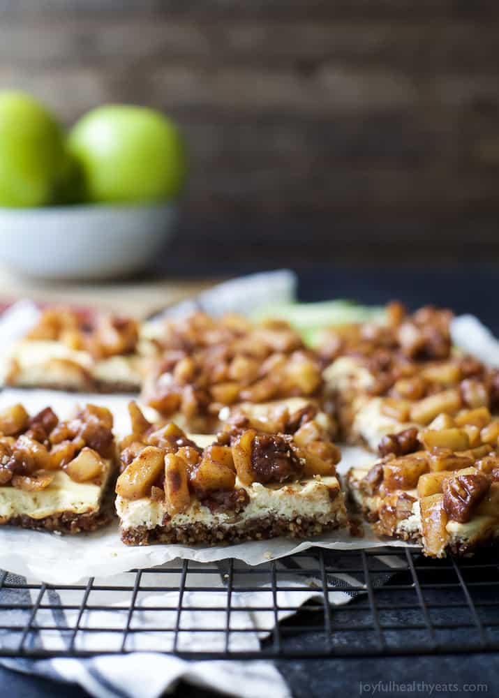 Gluten Free Apple Crisp Cheesecake Bars on a cooling rack