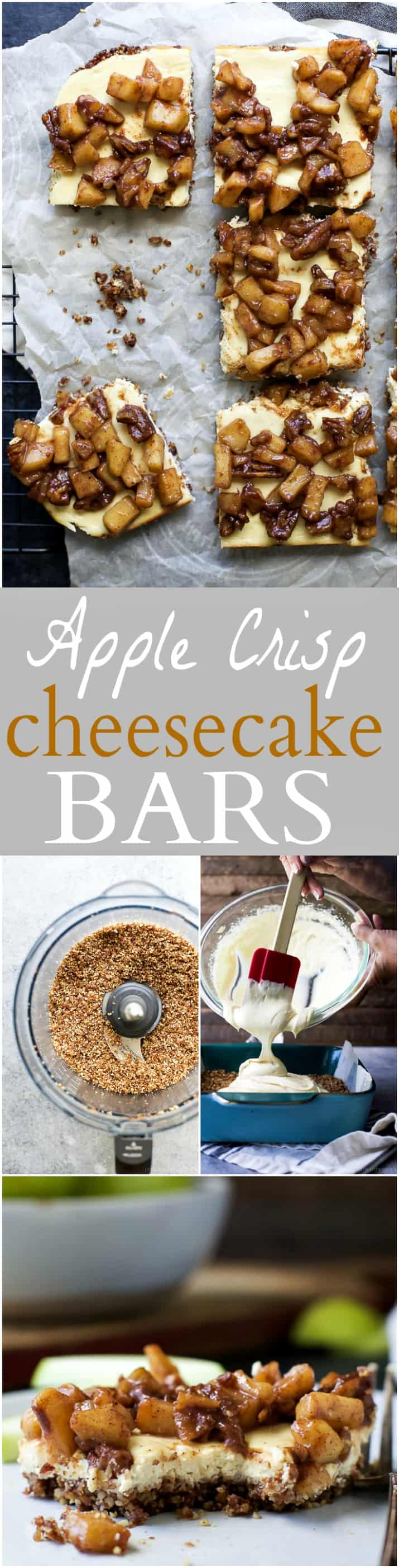 Pinterest image for Apple Crisp Cheesecake Bars