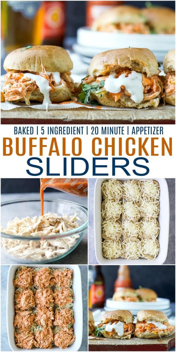 pinterest image for baked buffalo chicken sliders