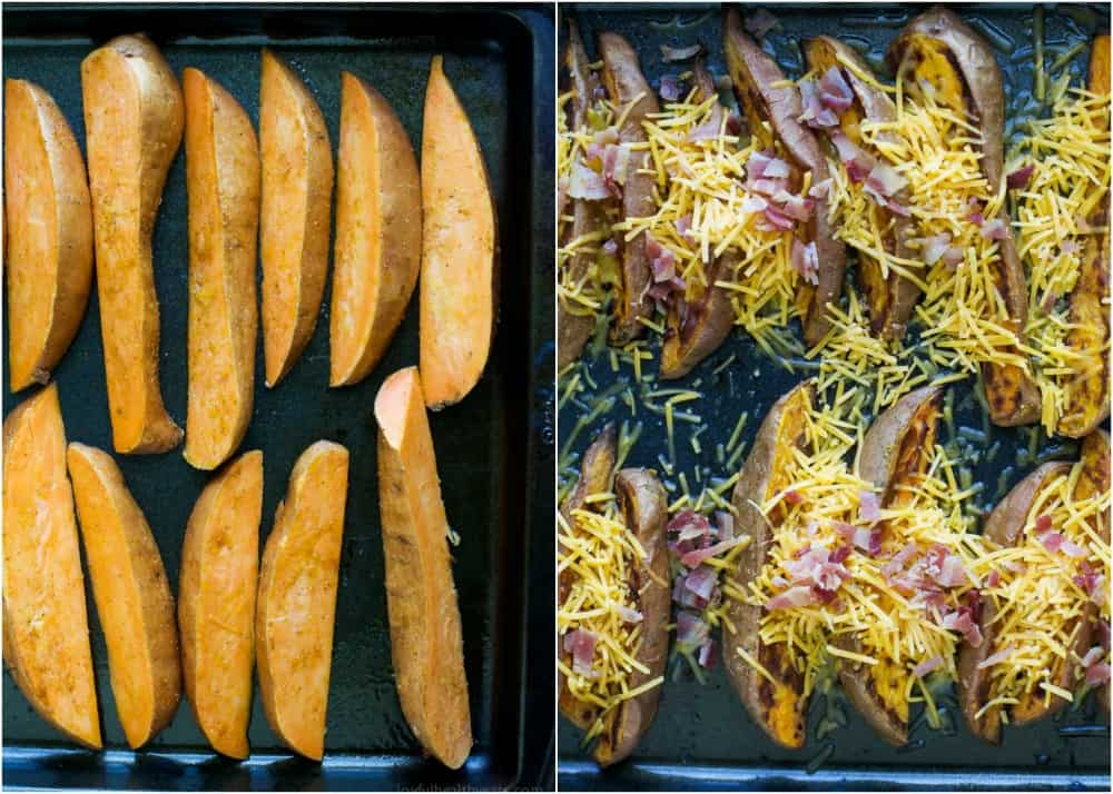 Loaded Sweet Potato Wedges, baked until crispy then covered with gooey cheese, crispy bacon and scallions. Appetizer. Side Dish. Main Dish. You decide! These loaded potato wedges are delicious, easy to make and perfect for game day!