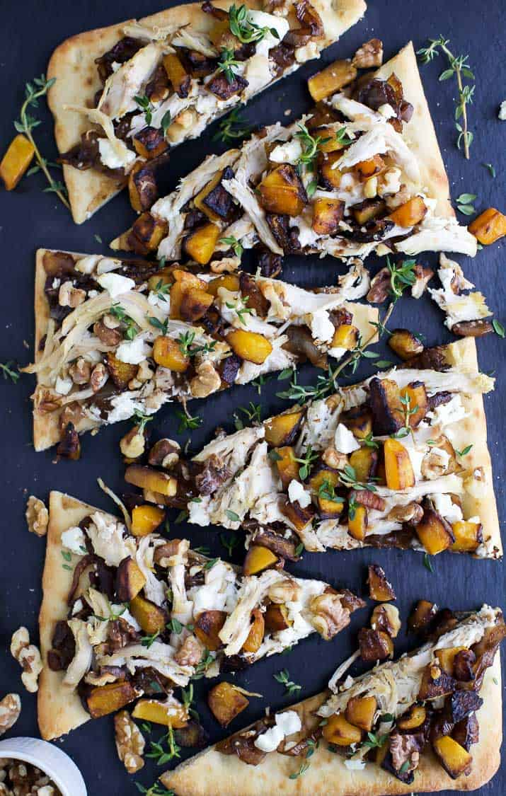 Slices of Butternut Squash Chicken Flatbread Pizza with balsamic caramelized onions and goat cheese