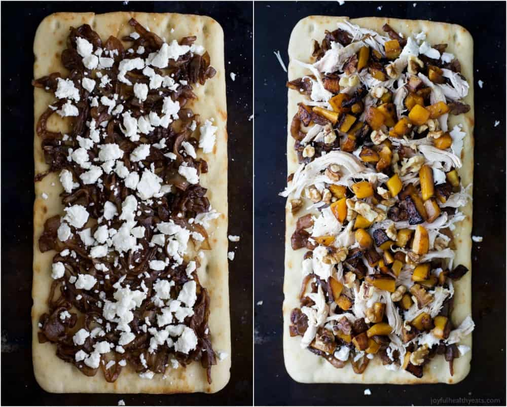 Collage of two images of Butternut Squash Chicken Flatbread Pizza, one with caramelized onions and goat cheese, and one flatbread complete with butternut squash and shredded chicken