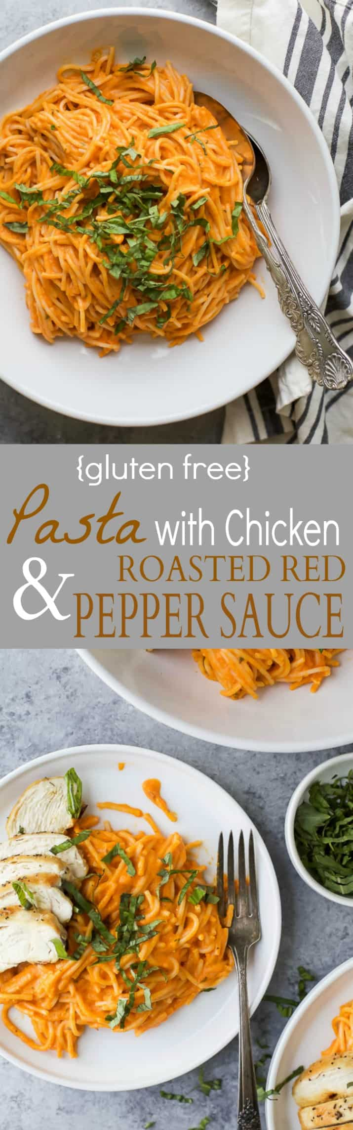 Gluten Free Pasta served with pan seared Chicken and a Creamy Roasted Red Pepper Sauce - made in 30 minutes! This gluten free pasta recipe is easy, comforting and guaranteed to be a family favorite!!