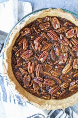 overhead shot of pecan pie with no corn syrup