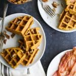 Pumpkin Waffles with Vanilla Pecan Maple Syrup