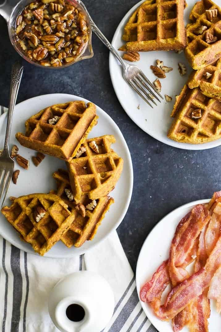Pumpkin Waffles with Vanilla Pecan Maple Syrup | Easy ...