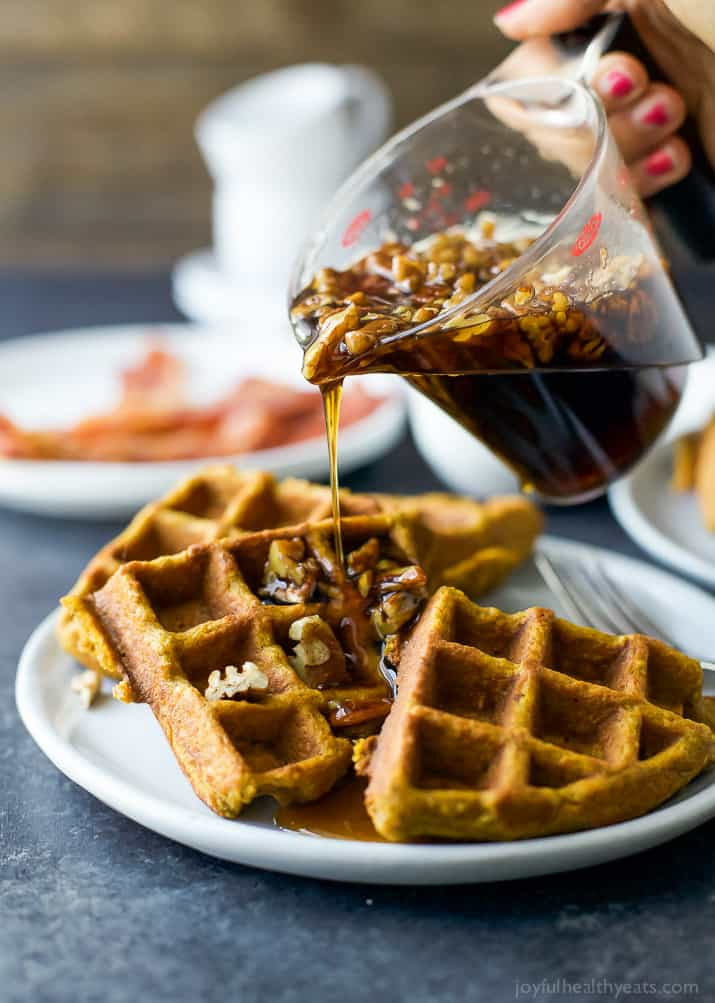 Pumpkin Waffles With Vanilla Pecan Maple Syrup Easy